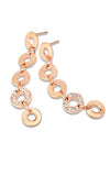 Mini Circle 5 Tier Line Earring With One Pave