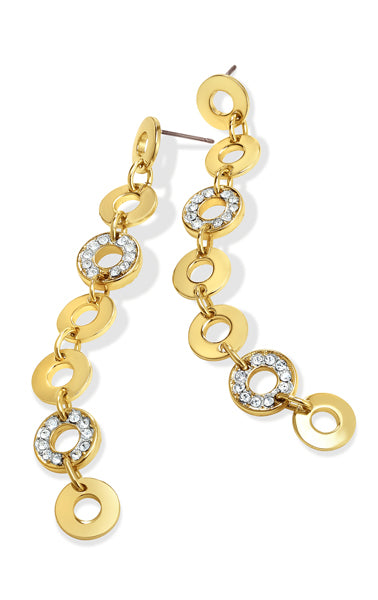 Mini Circle 7 Tier Line Earring With Two Pave Pieces