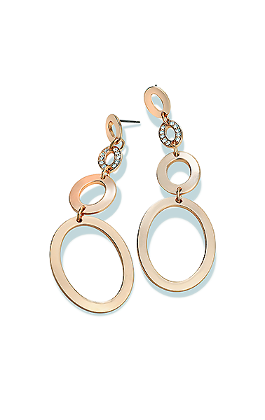Oval Earrings with One Pave Piece