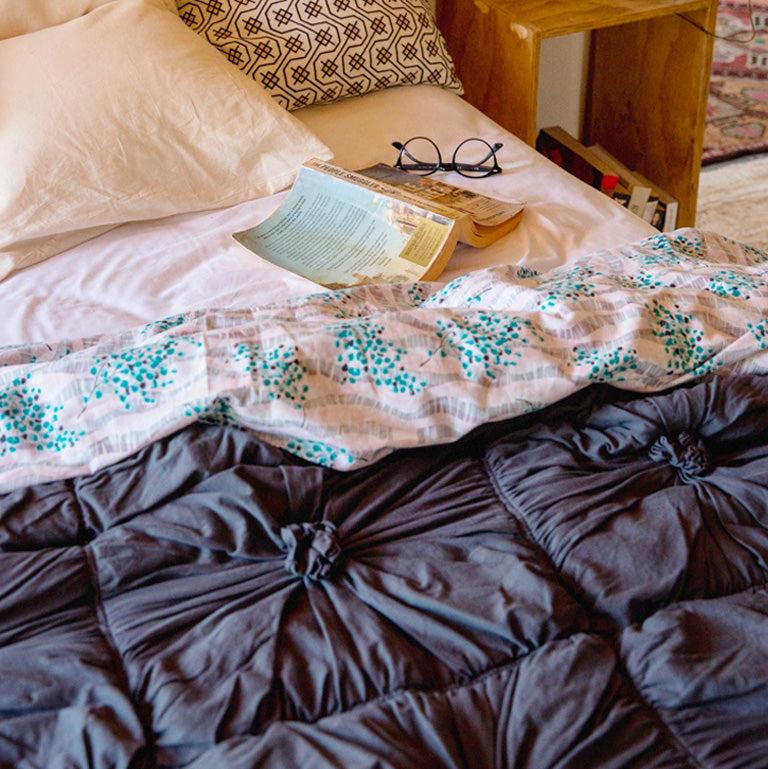 Rosette quilt and floral sheets
