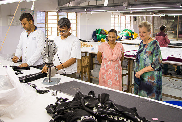 Tracey at Fair Trade factory India