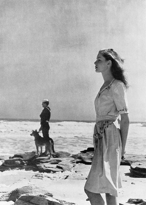 Lauren Bacall in Harpers Bazaar in 1943 shot by Louise Dahl Wolfe