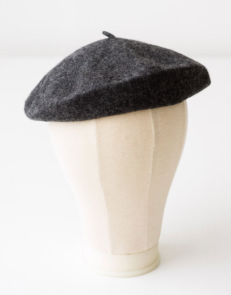 Wool Beret in Charcoal