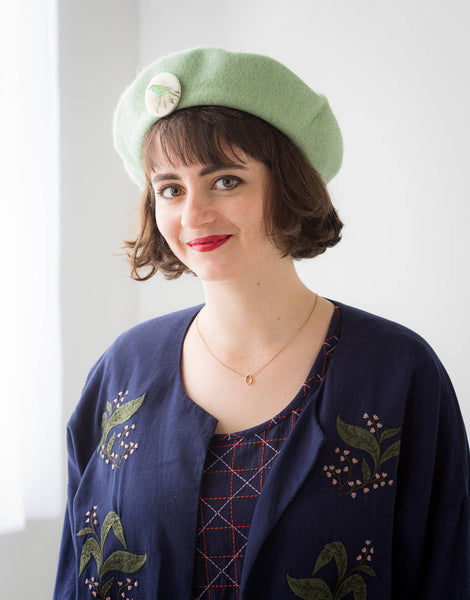 Wool Beret in Mint