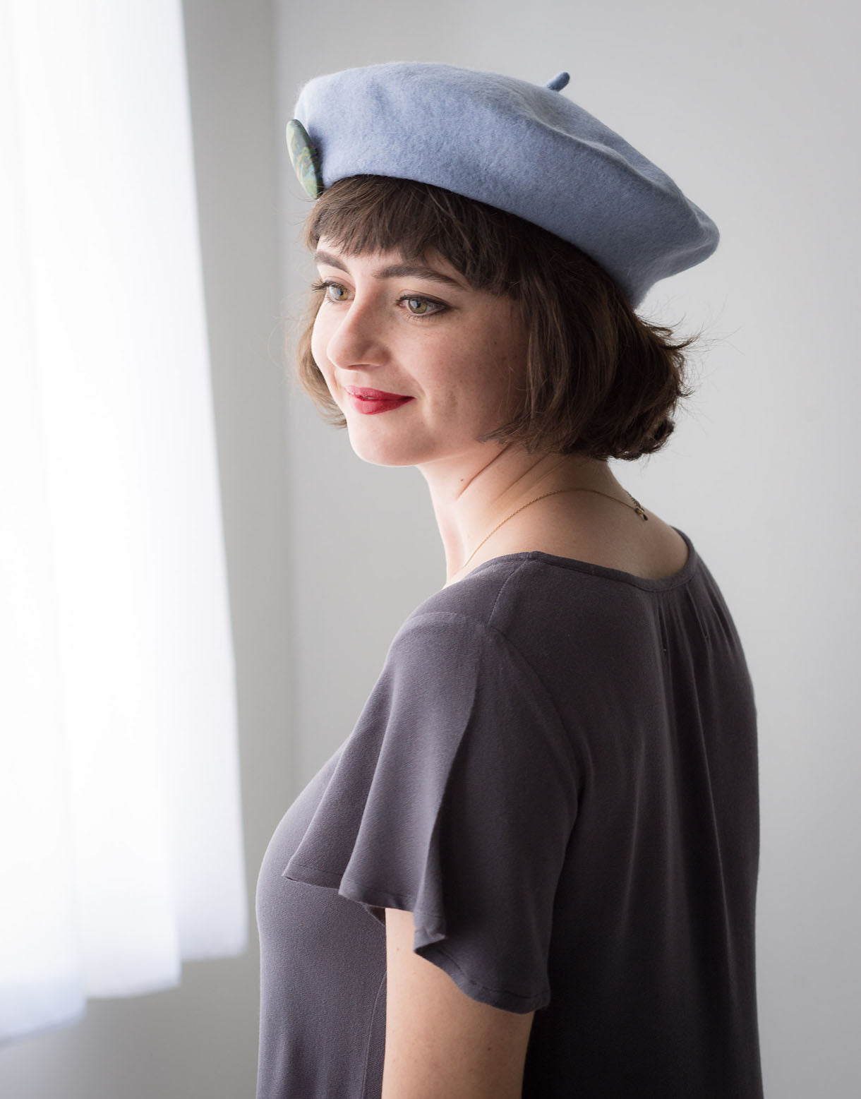 Wool Beret in Sky Blue