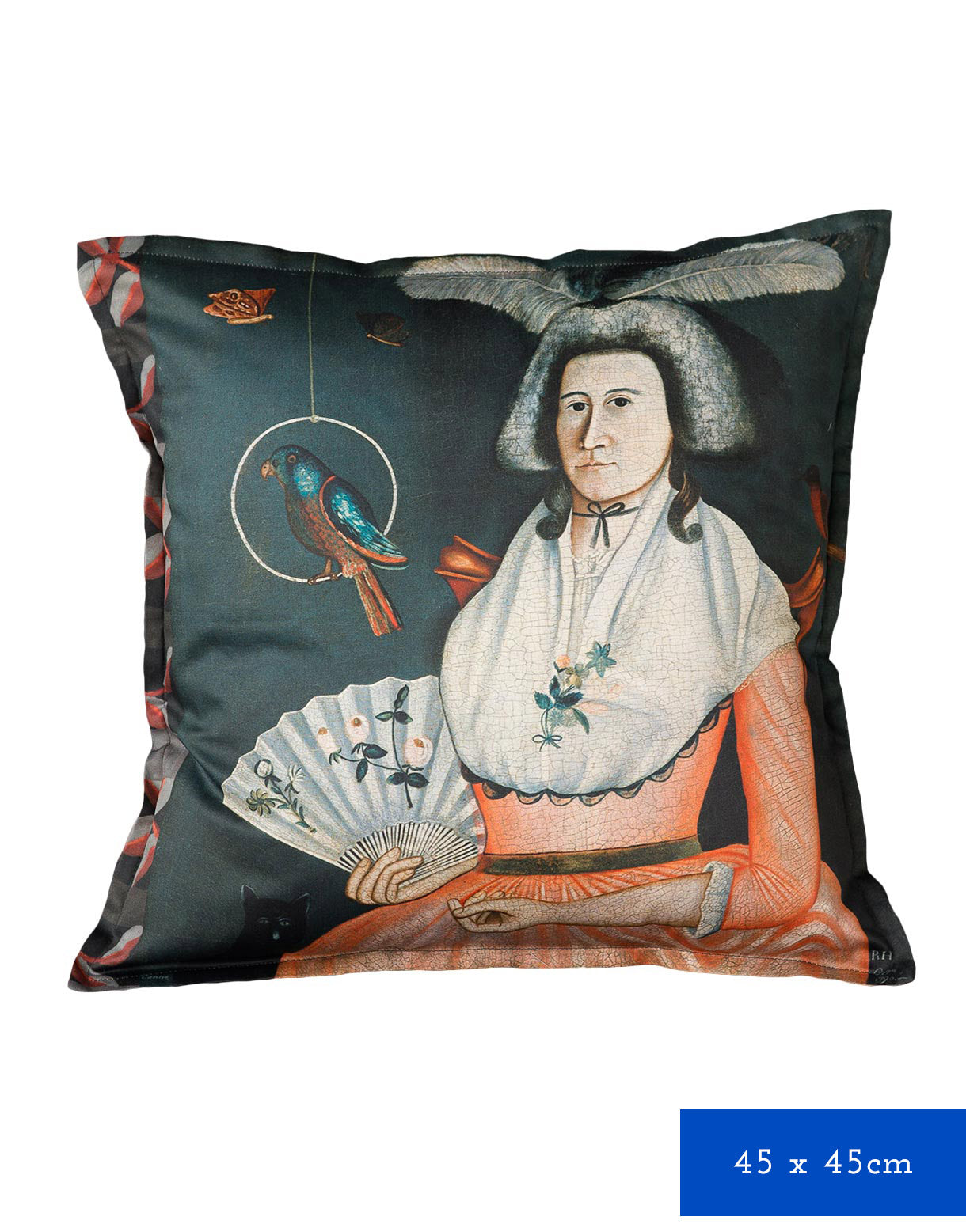 Lady with Her Pets Cushion Cover