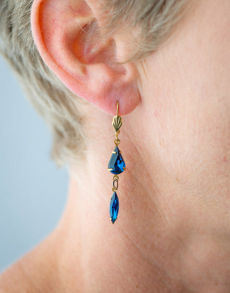 Vintage capri blue drop earrings