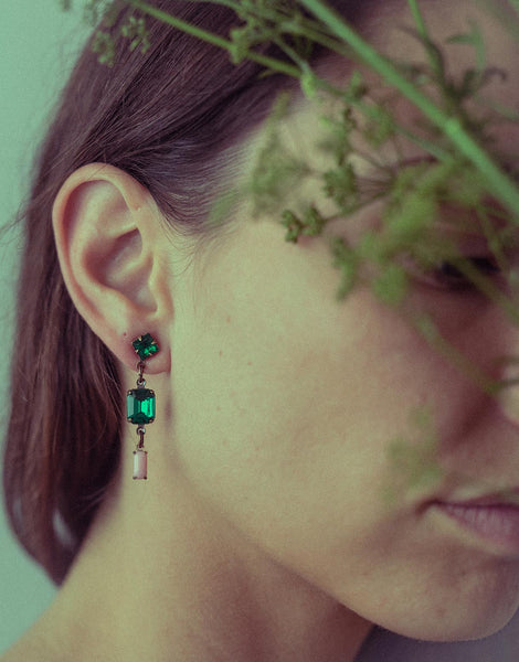 Emerald Pink drop earrings