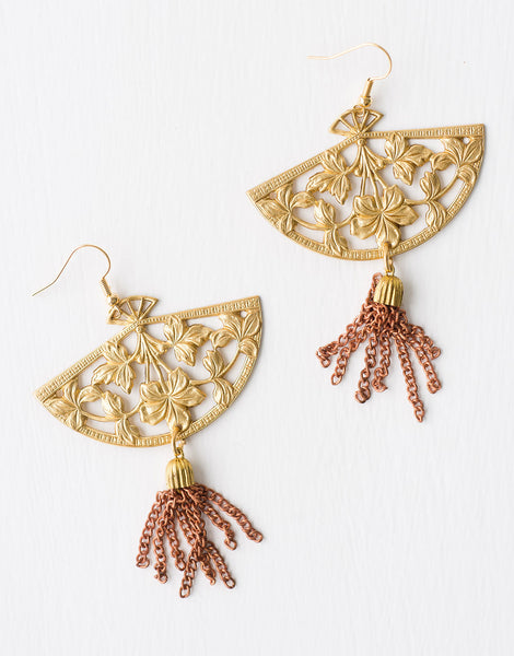 Fans and Tassels Earrings