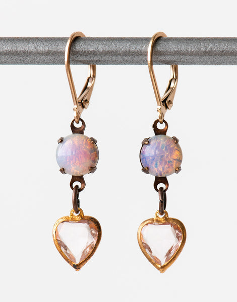 Vintage opal glass heart earrings
