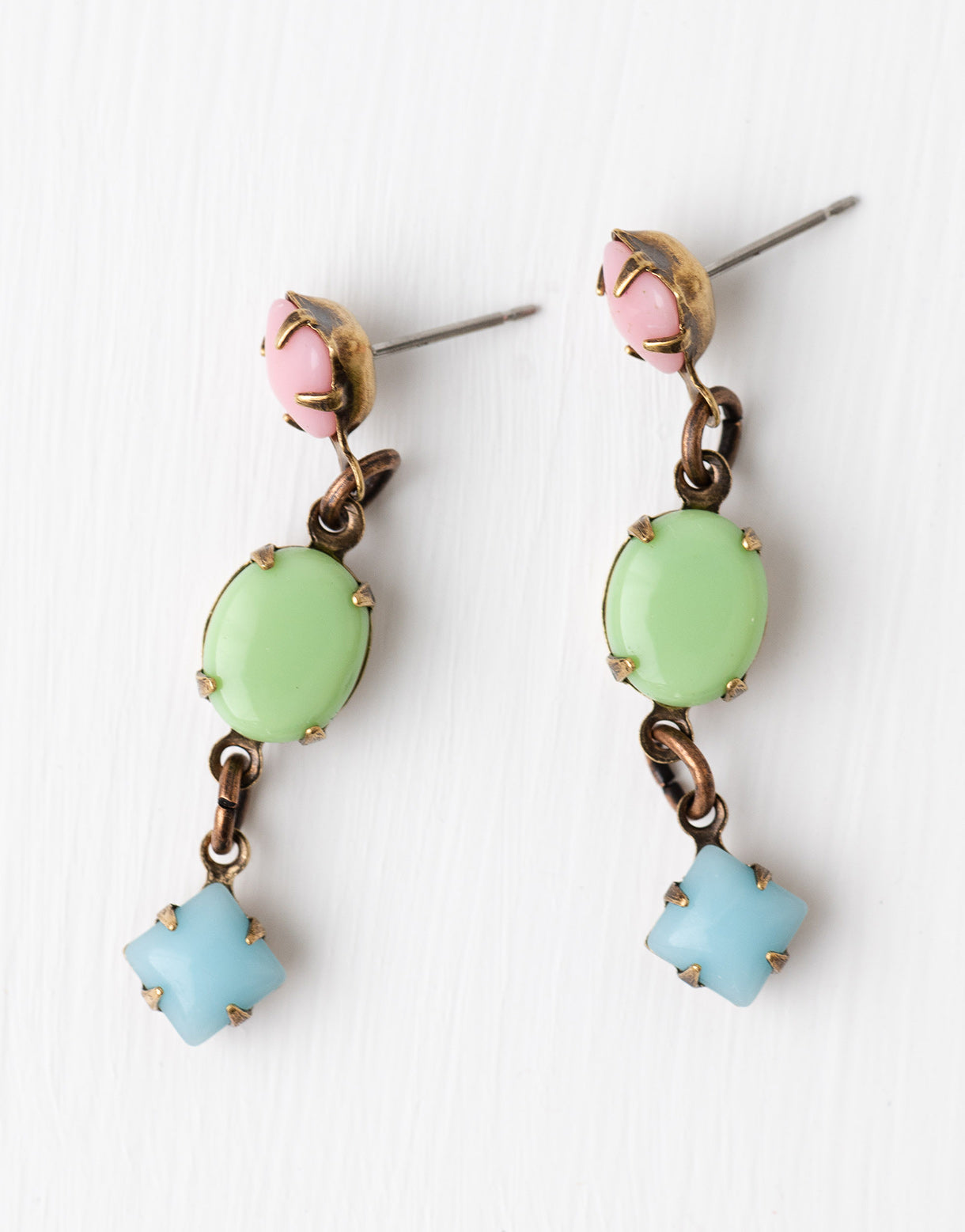 Pink green & turquoise drop earrings
