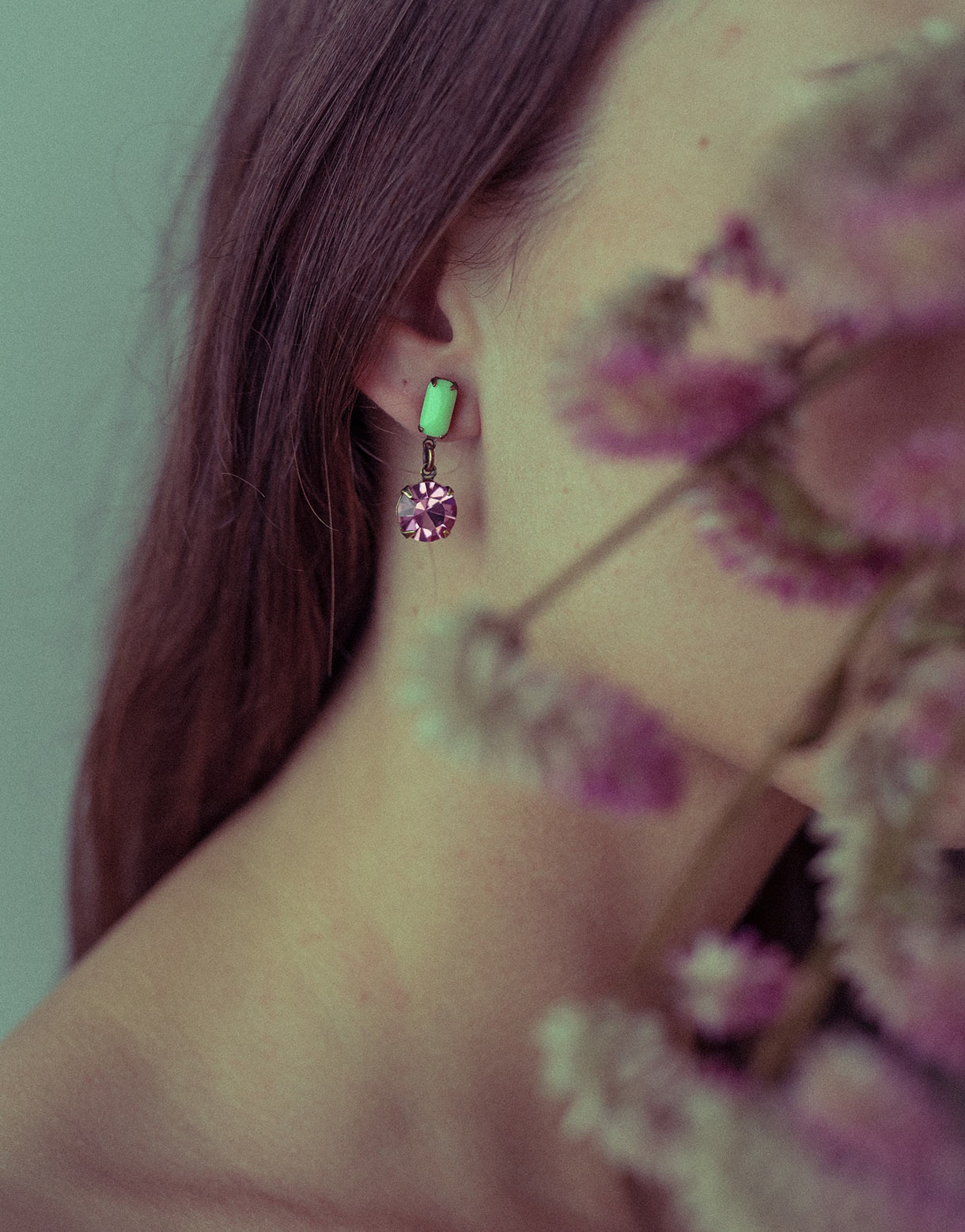 Vintage rose green earrings