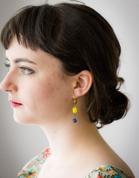 Vintage yellow drop earrings