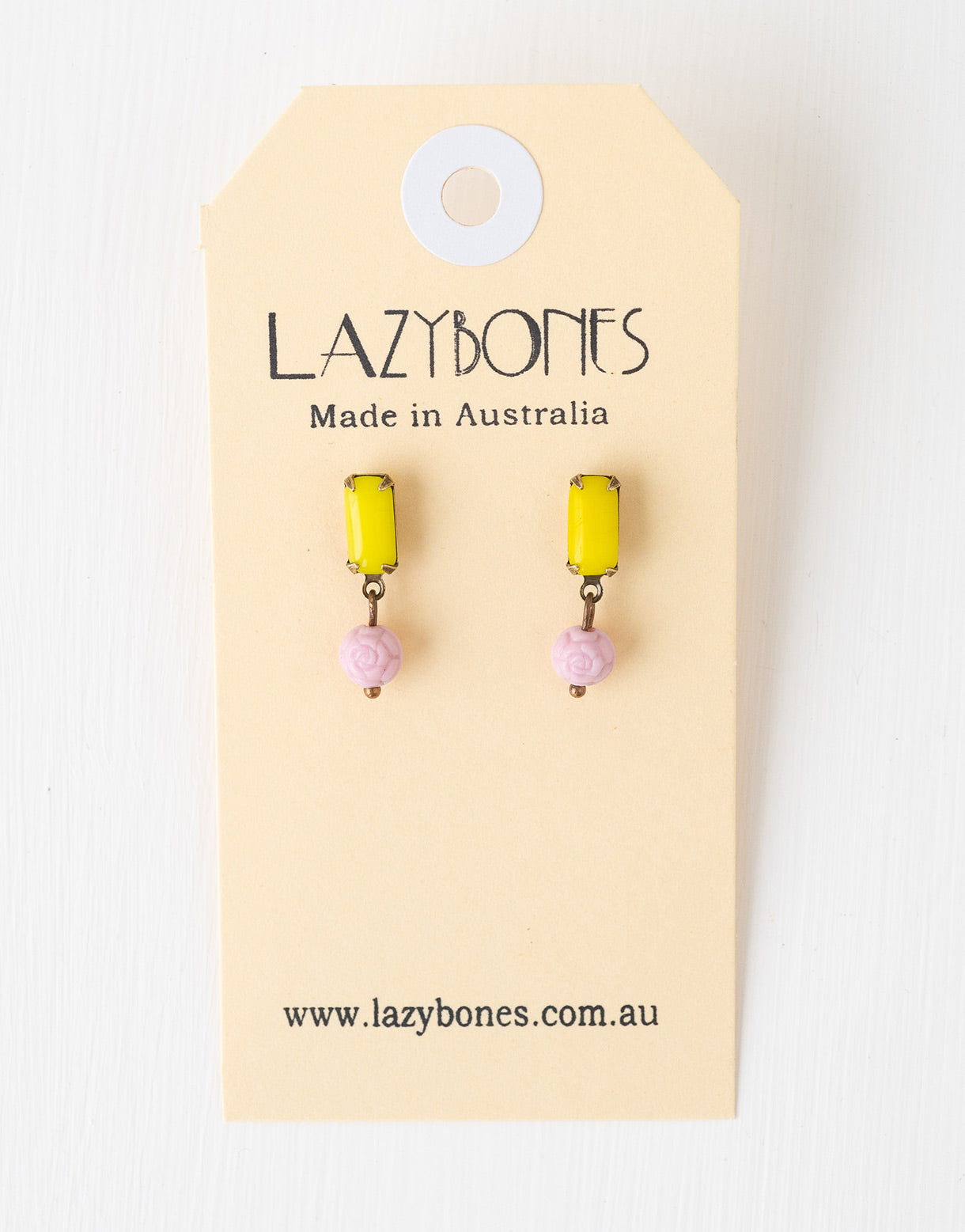 Vintage Yellow studs with Pink rose earrings