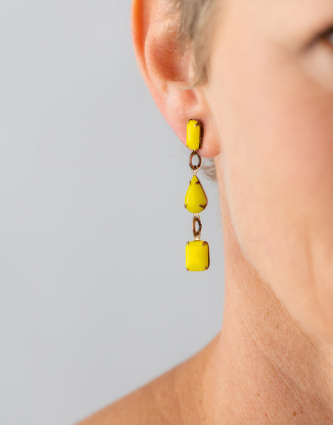Yellow stud drop earrings