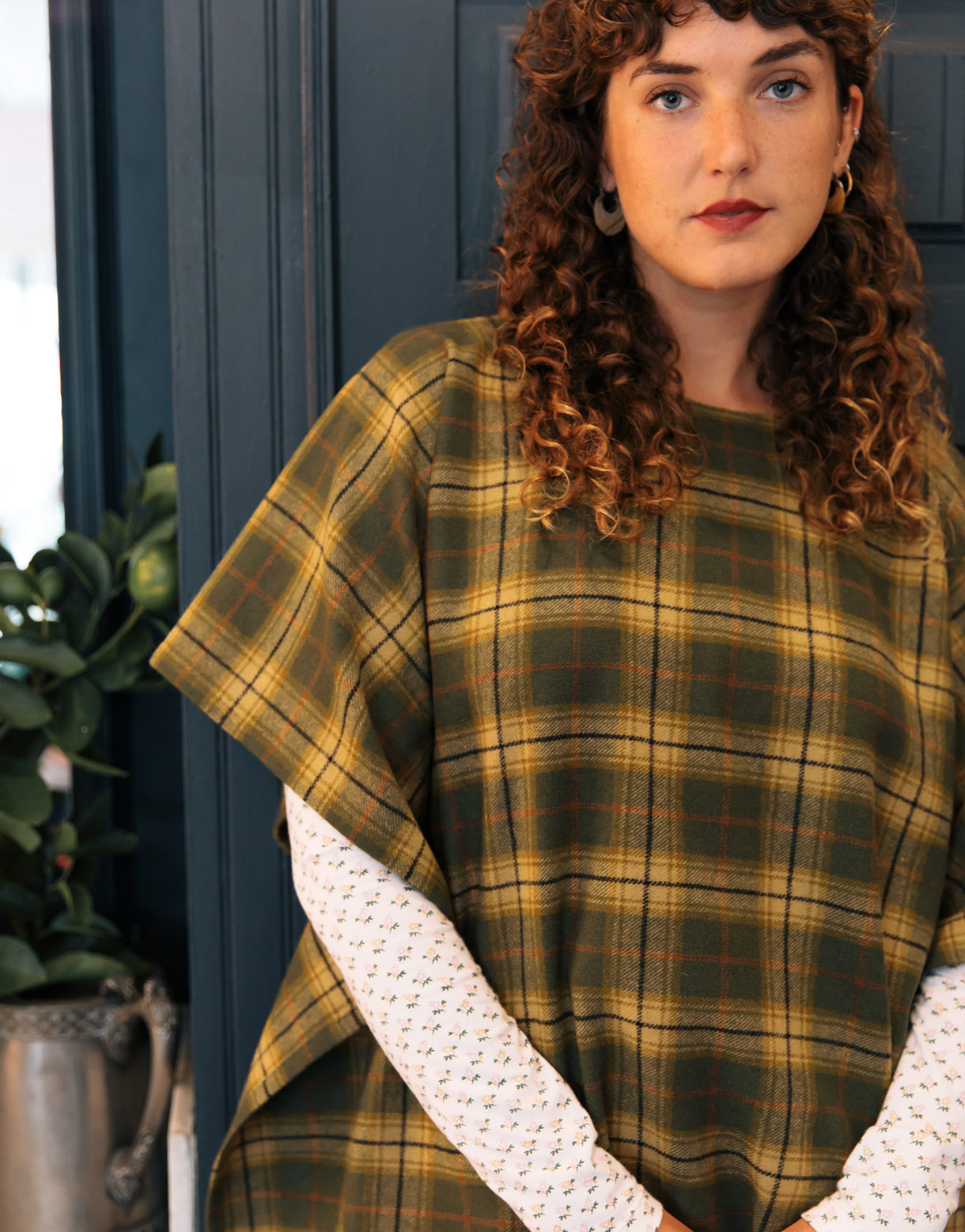 Poncho in Green wool
