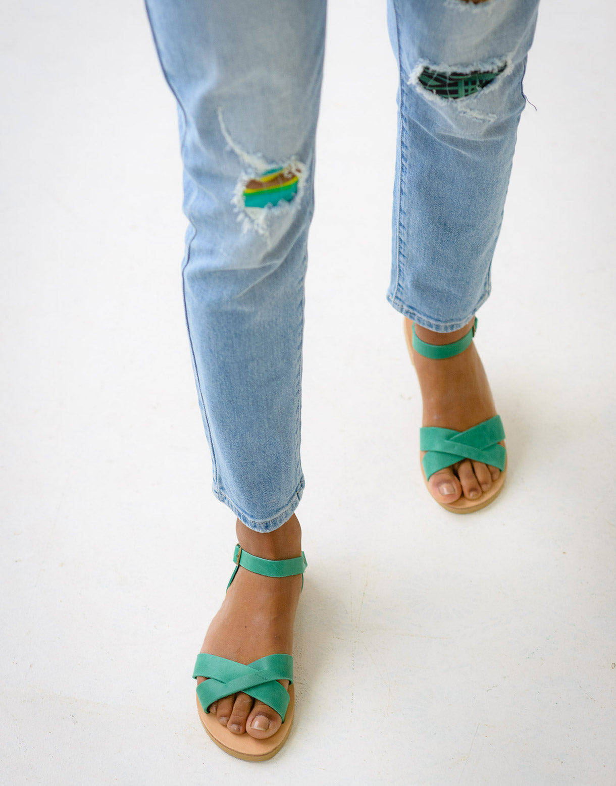 Erato Sandals in Light Green