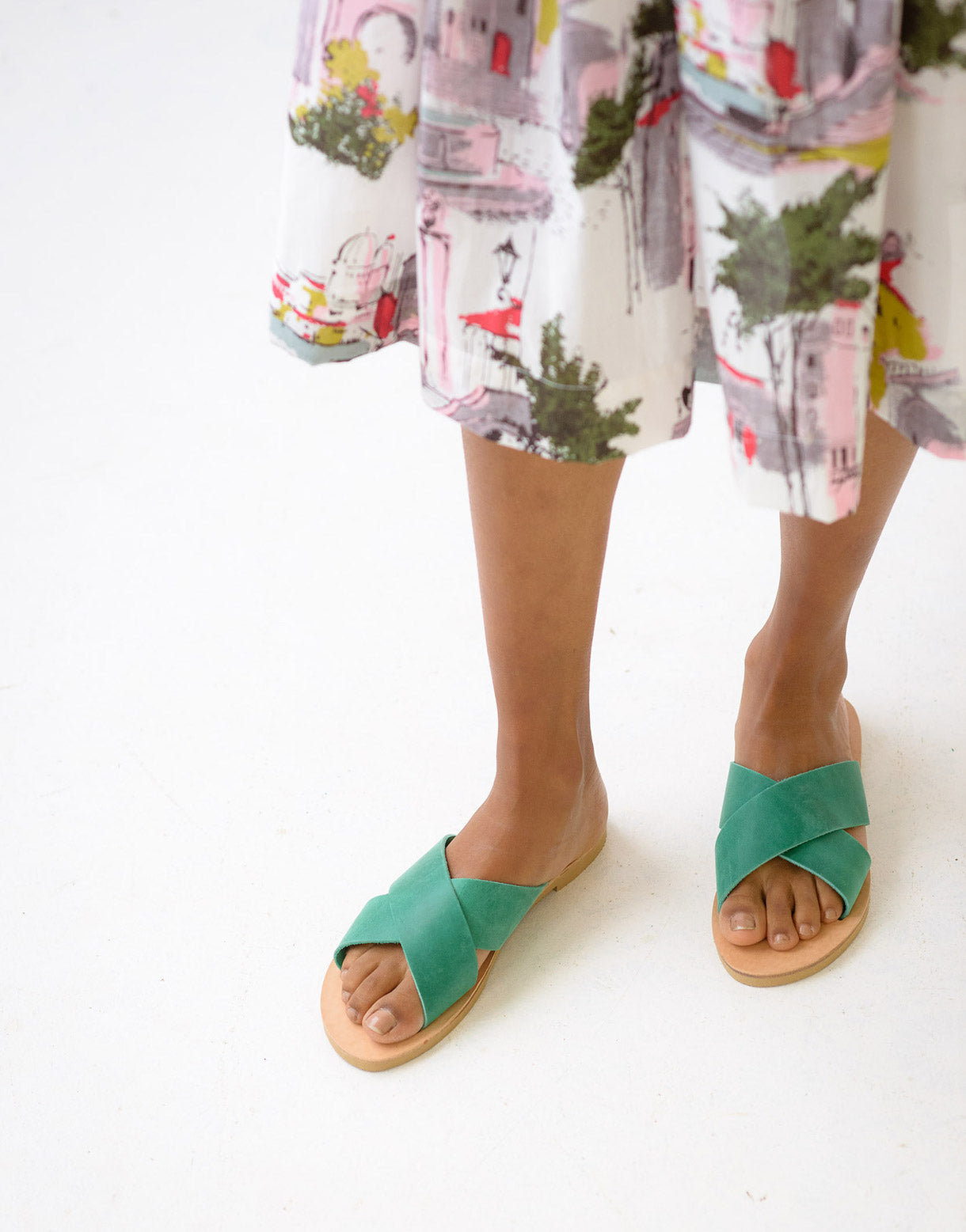 Slide sandals in Light Green