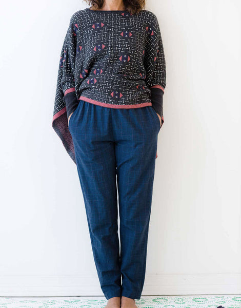 Arlo Pant in Indigo Plaid *organic cotton
