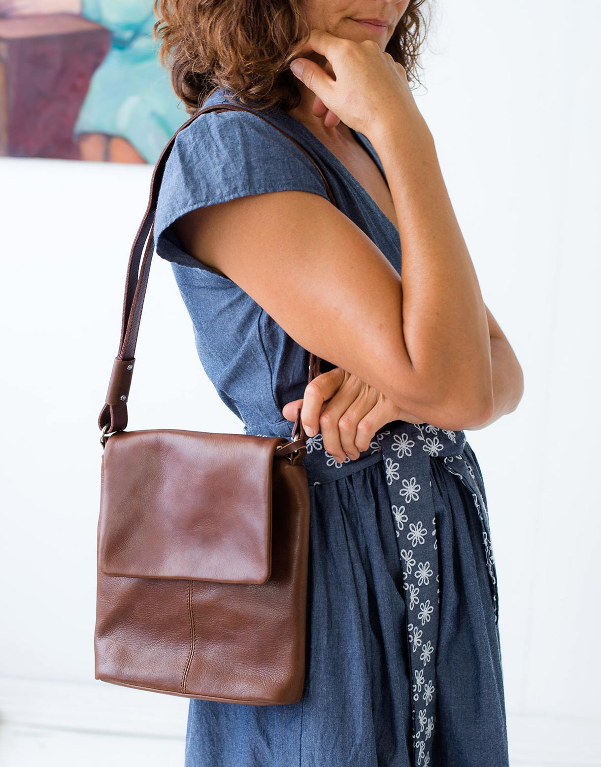Kit Leather Bag in Brown