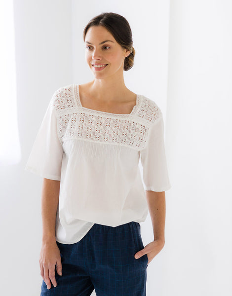 Lois Top in Off White *organic cotton