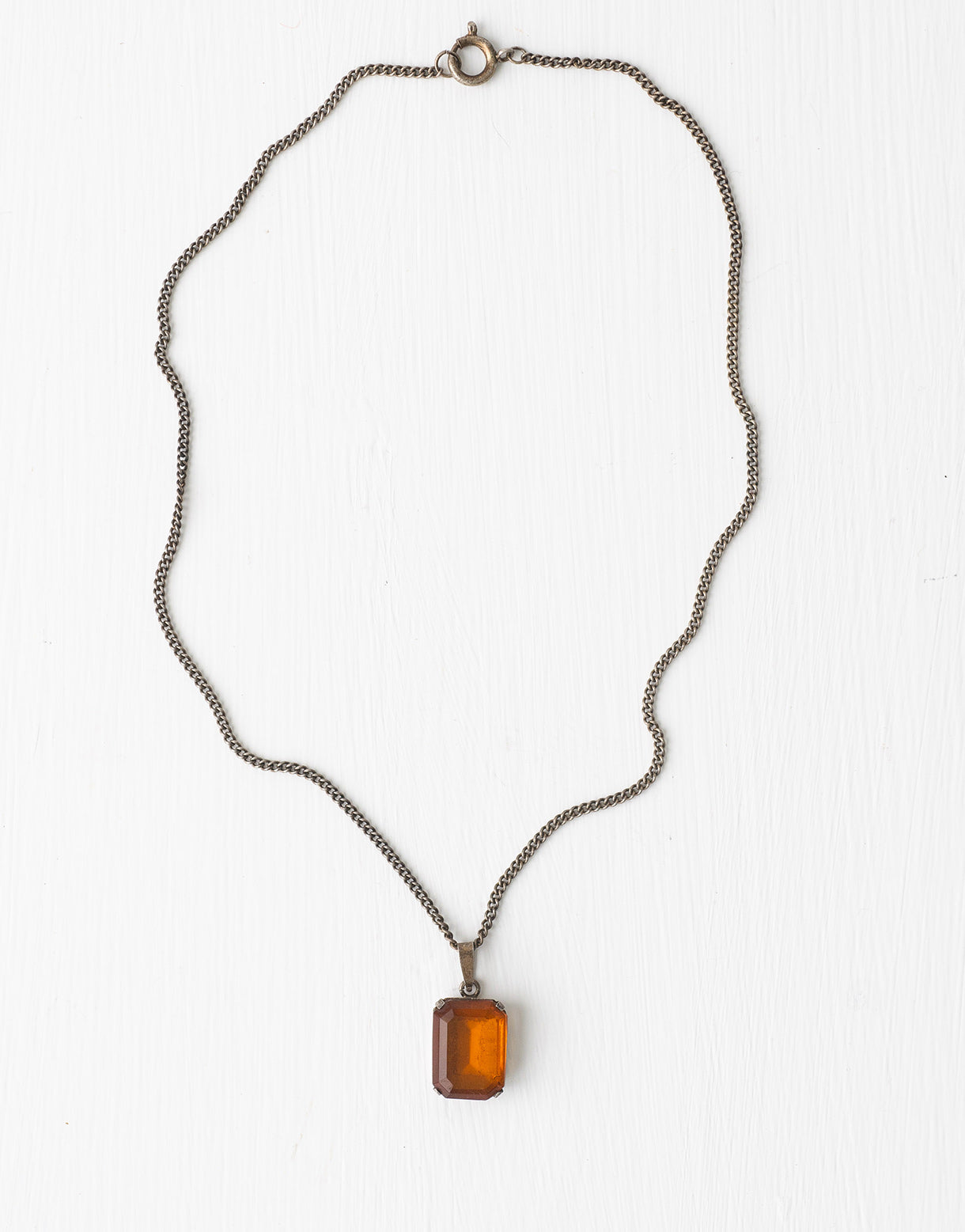 Vintage 1920s amber glass necklace