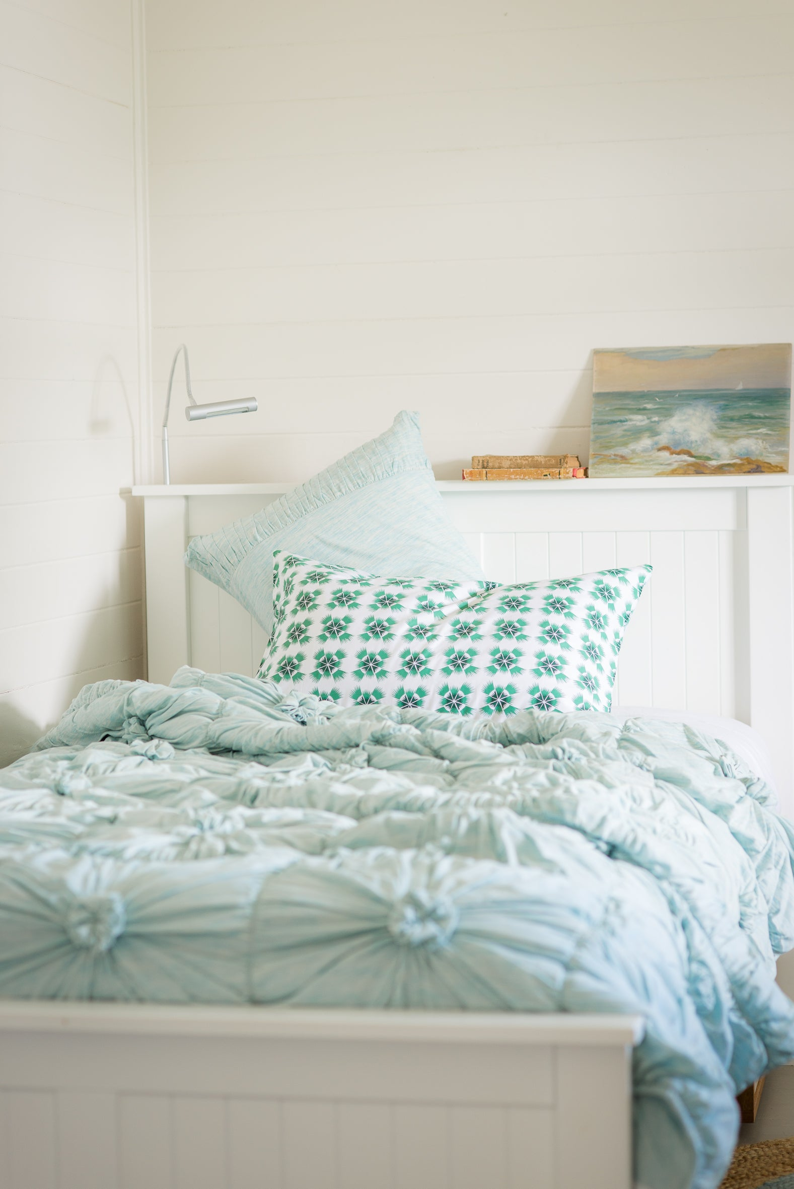 Rosette Pillowcase in Aqua Marle *organic cotton