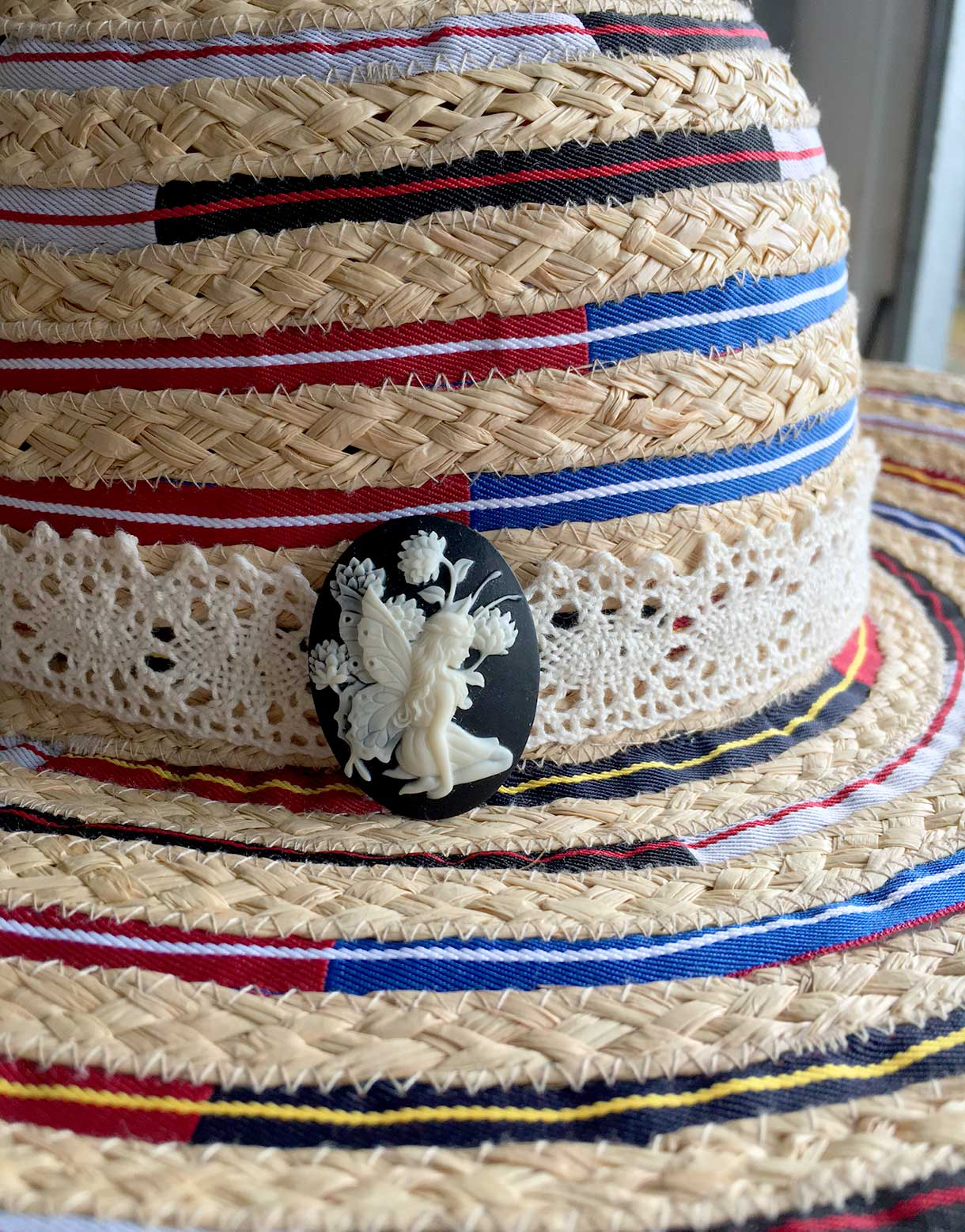 Plaited Raffia Hat with Ribbon
