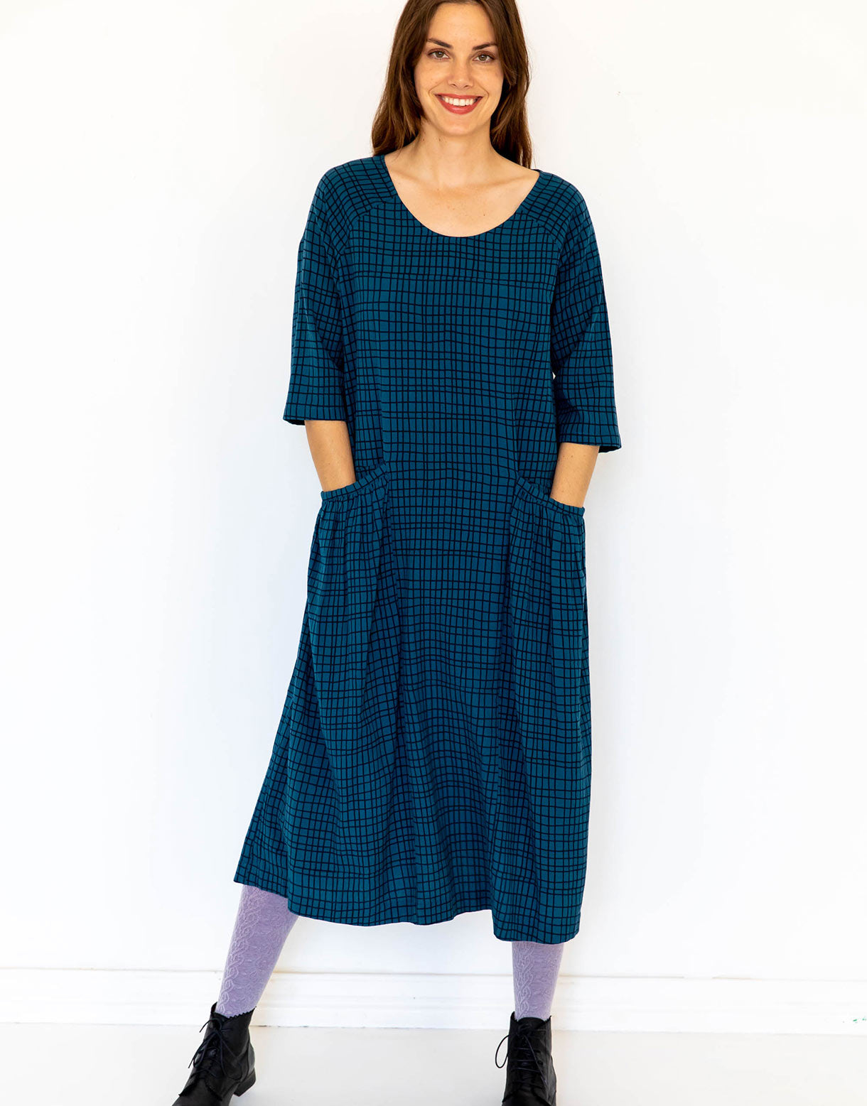 Raya Dress in Grid *organic cotton/recycled flax