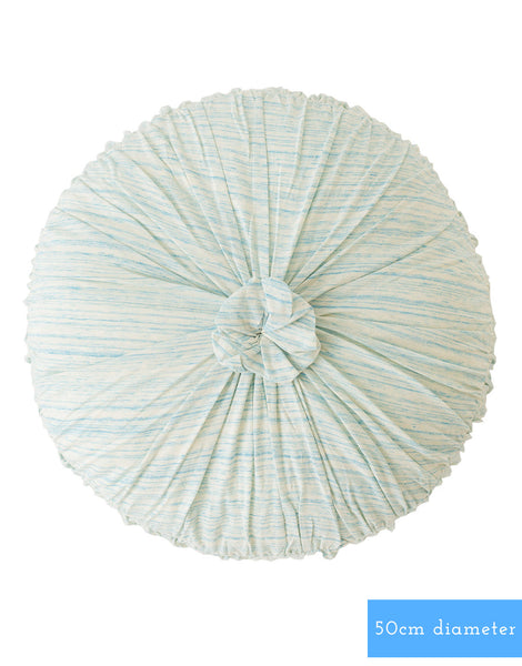 Rosette Round Cushion in Aqua Marle *organic cotton