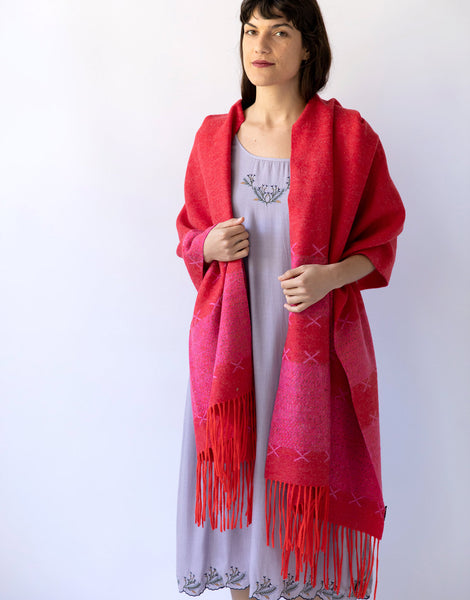 Wool Scarf in Red & Pink
