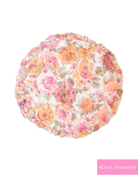 Small round Cushion cover in Peony