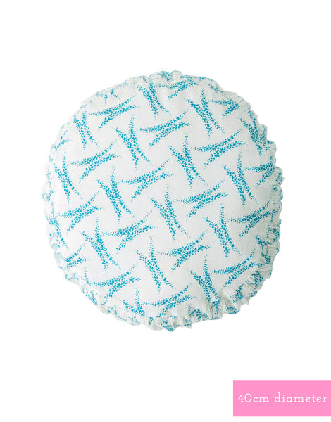 Small round cushion cover in Heather Blue