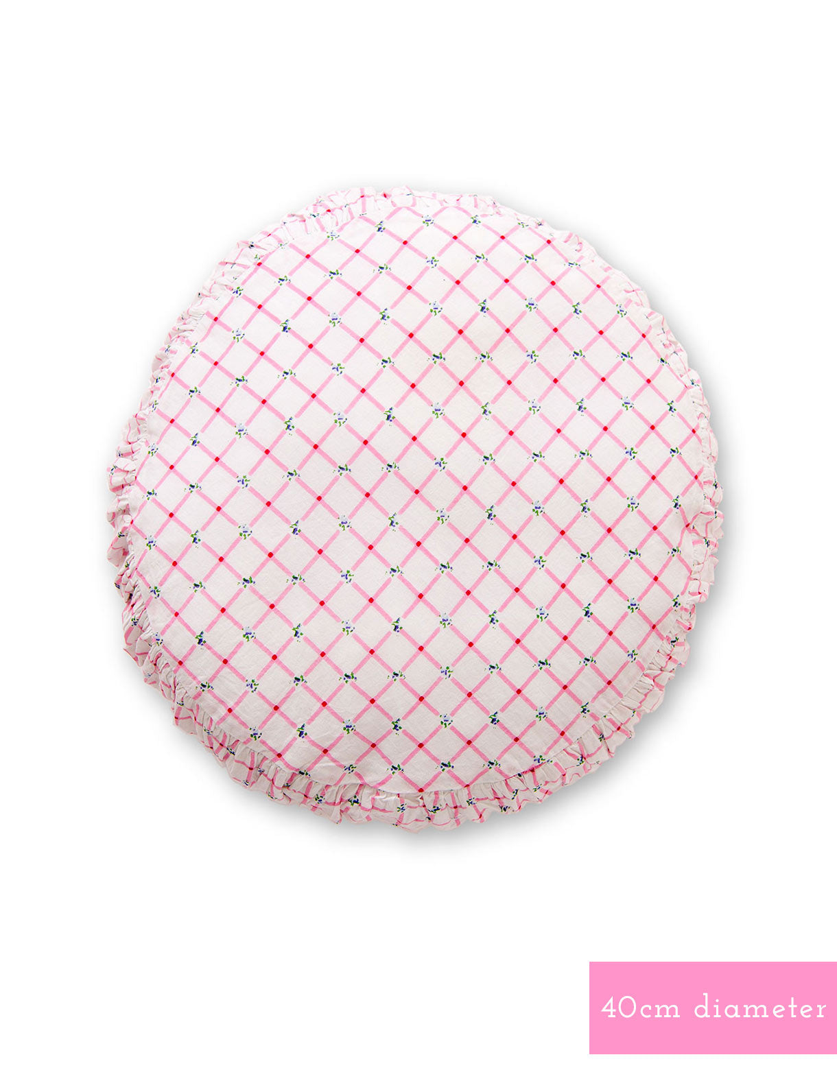 Small round cushion cover in Picnic Pink