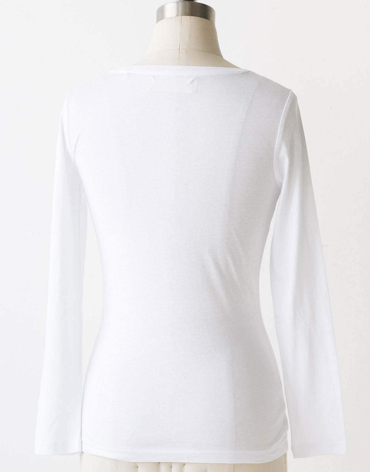 Tia long sleeve lace tee in White *organic cotton