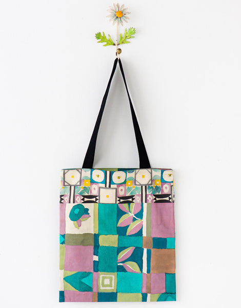 Green leaf tote bag large *organic cotton