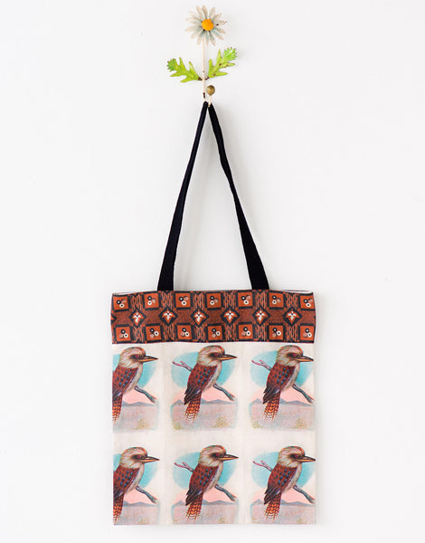 Multi kookaburras tote bag large *organic cotton