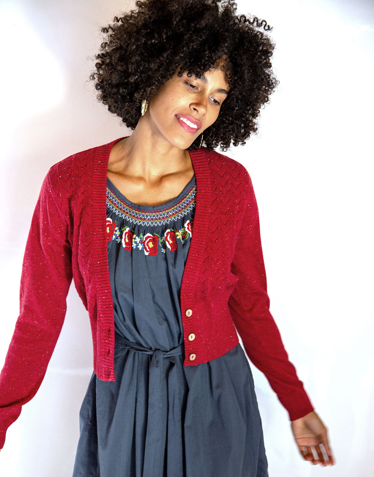 Verity Cardigan in Lovely Red *organic cotton