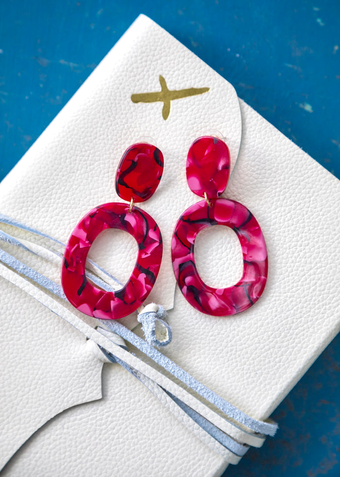 Ruby Marble Earrings