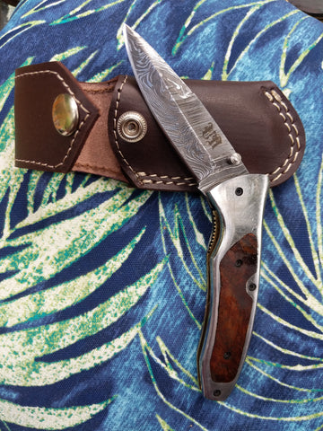 Folding knife with wood and stainless