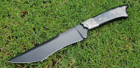 Bowie knife powder coated stainless, Damascus bolster