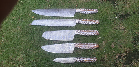 Chef knife set white pine cone handled