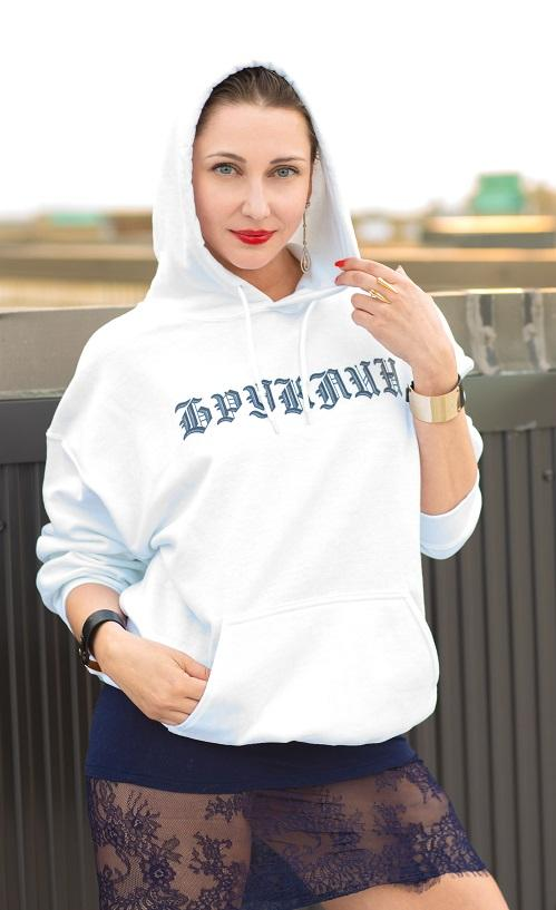 Sweatshirts - Brooklyn (Бруклин) Gothic Logo White Hooded Sweatshirt