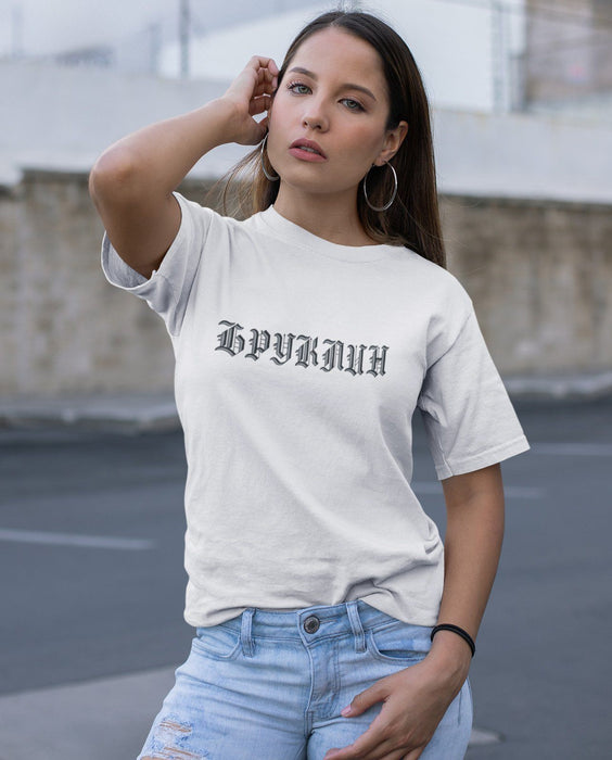 T-Shirts - Brooklyn (Бруклин) Gothic Logo Short-Sleeve White T- Shirt
