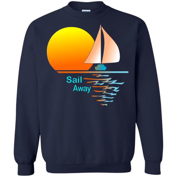 Sail Away on Printed Crewneck Pullover Sweatshirt  8 oz