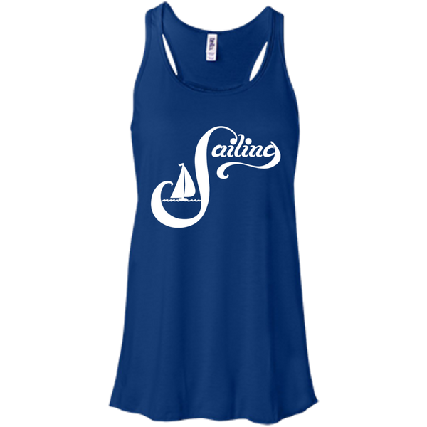 Sailing White on Bella+Canvas Flowy Racerback Tank