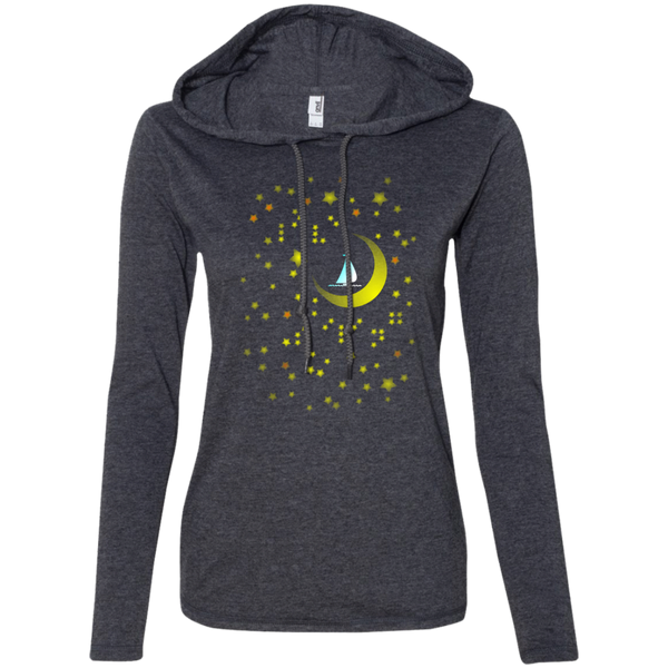 Moon Sailing on 887L Anvil Ladies' LS T-Shirt Hoodie