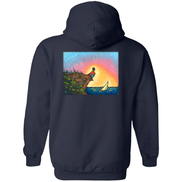 """The Adventurer"" - printed on the back - Pullover Hoodie 8 oz"