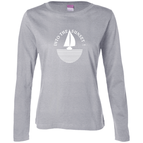Into The Sunset - White on Ladies Long Sleeve Cotton TShirt