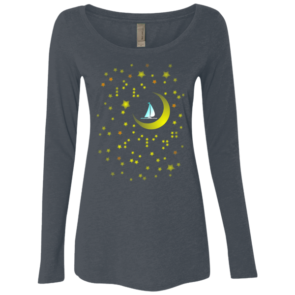 Moon Sailing on NL6731 Next Level Ladies' Triblend LS Scoop
